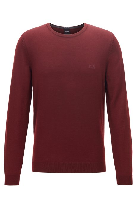 Virgin-wool sweater with logo embroidery and crew neckline, Dark Red