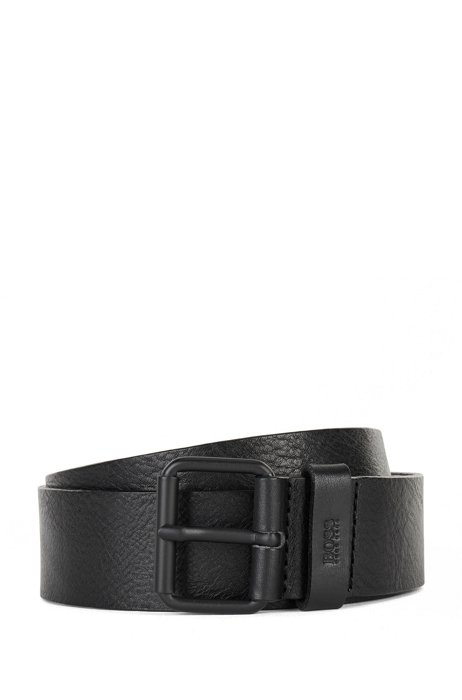 Vegetable-tanned leather belt with black roller buckle, Black