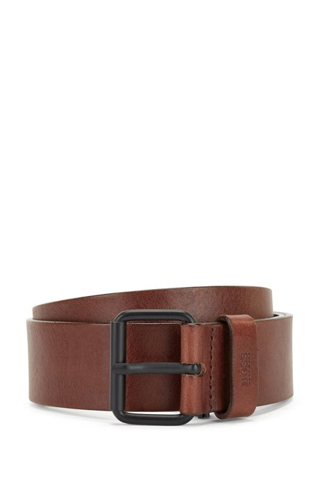 Vegetable-tanned leather belt with black roller buckle, Dark Brown