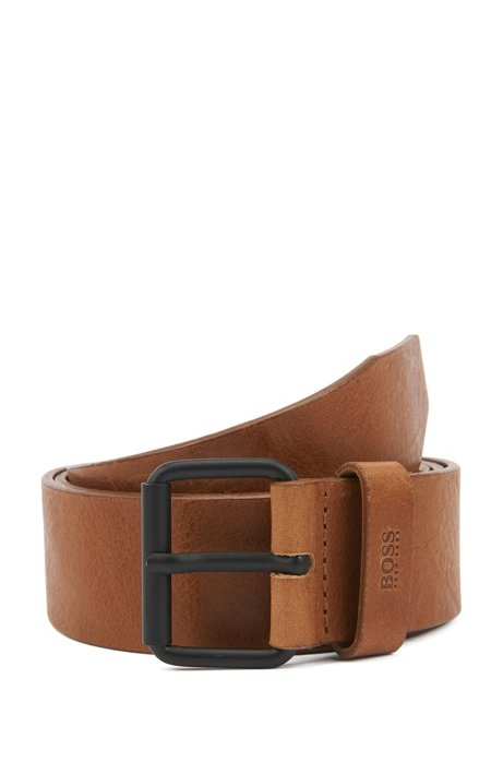 Vegetable-tanned leather belt with black roller buckle, Brown
