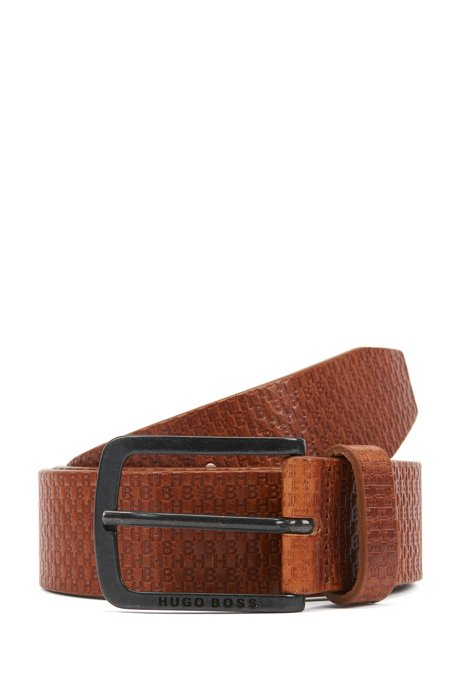 Monogram-embossed belt in cuoio leather, Brown