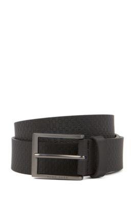 In Italien gefertigter Ledergürtel mit Monogramm-Prägung, Schwarz
