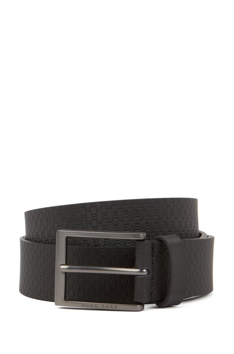 Italian-made belt in leather with embossed monograms, Black