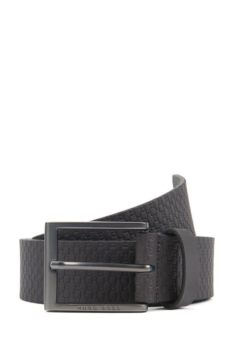 Italian-made belt in leather with embossed monograms, Dark Grey