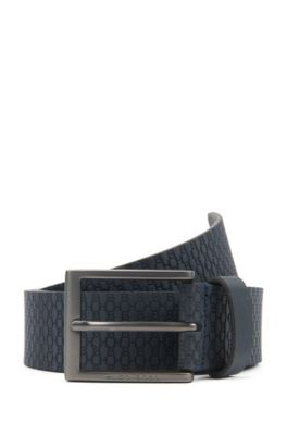 Cinturón de piel elaborado en Italia con monogramas grabados, Azul oscuro