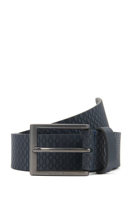 Italian-made belt in leather with embossed monograms, Dark Blue