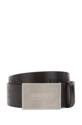 Plate-buckle belt in structured leather with logo details, Black