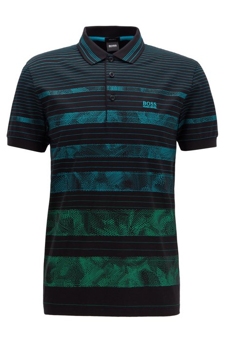 Regular-fit polo shirt with patterned stripe, Black