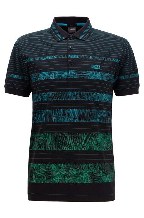 Poloshirt aus Baumwolle mit gemusterten Streifen, Schwarz