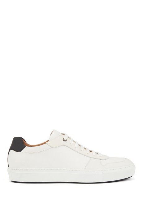 Italian-made trainers in calf leather with rubberised overlays, White