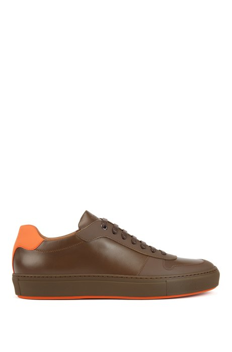 Italian-made trainers in calf leather with rubberised overlays, Brown