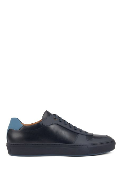Italian-made trainers in calf leather with rubberised overlays, Dark Blue
