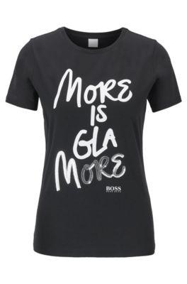 T-shirt in jersey di cotone con slogan stampato e arricchito di paillettes, Nero
