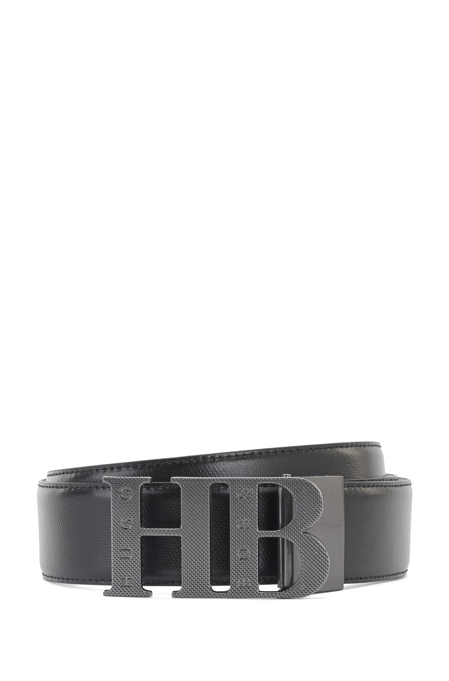 Reversible leather belt with milled monogram buckle, Black