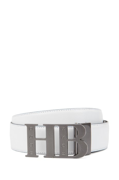 Reversible leather belt with milled monogram buckle, White