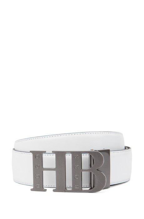 Wendegürtel aus Leder mit gewalzter Monogramm-Schnalle, Weiß