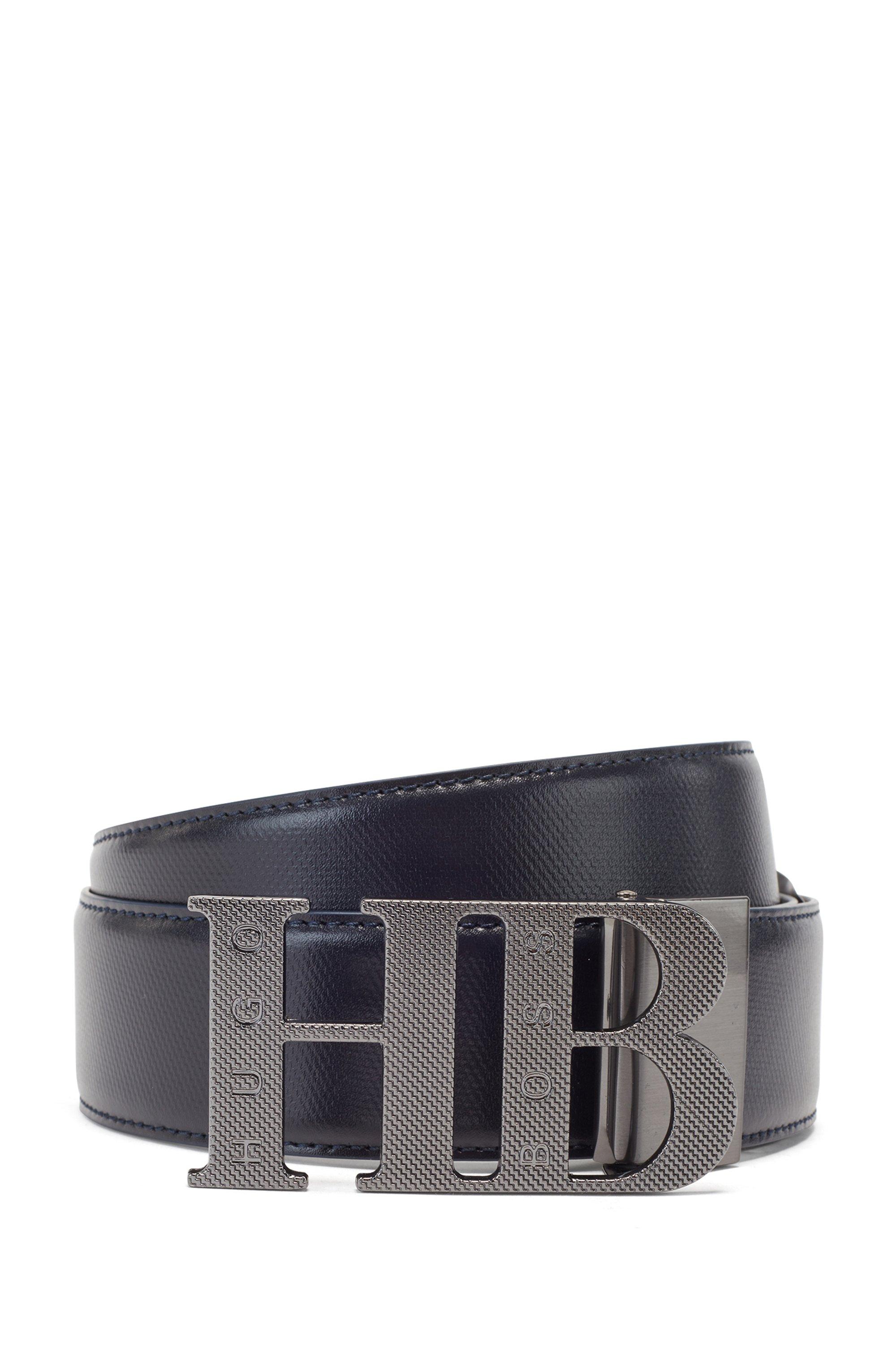 Reversible leather belt with milled monogram buckle, Dark Blue