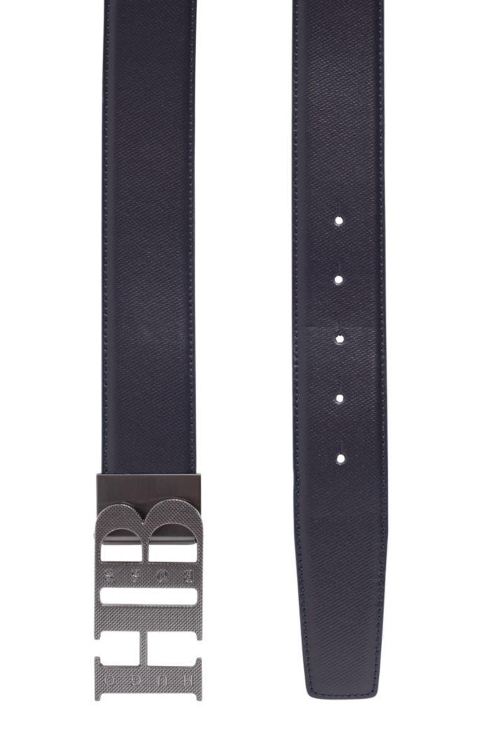 Cinturón reversible de piel con textura en la hebilla de monograma