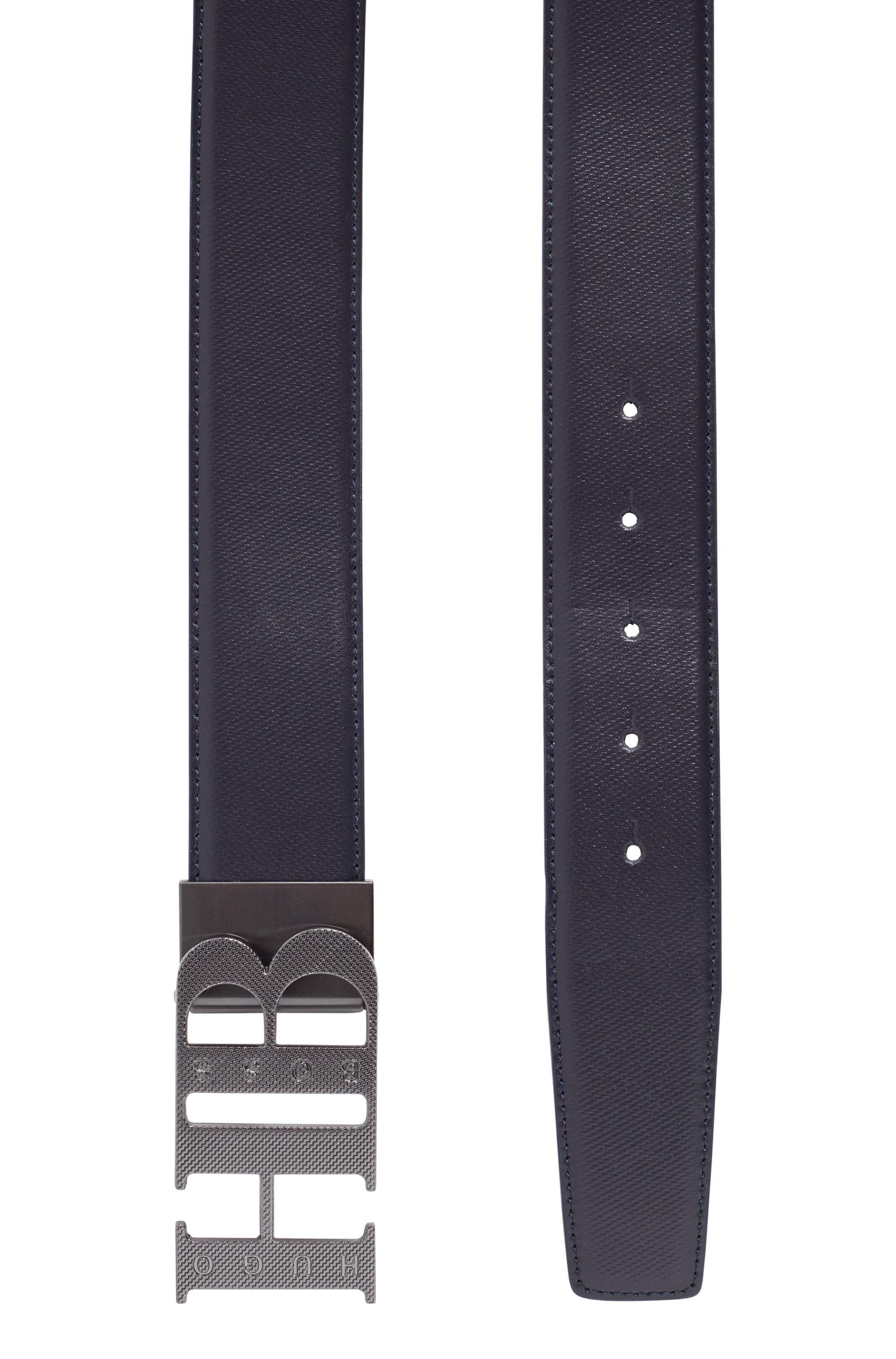 Reversible leather belt with milled monogram buckle