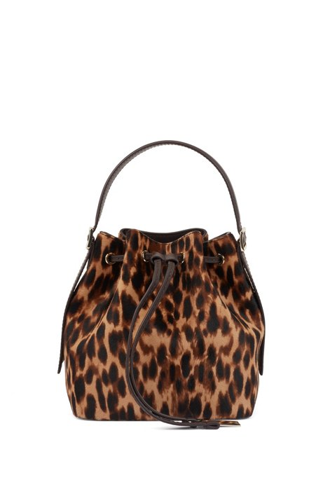 Leopard-print bucket bag in Italian calf hair, Patterned