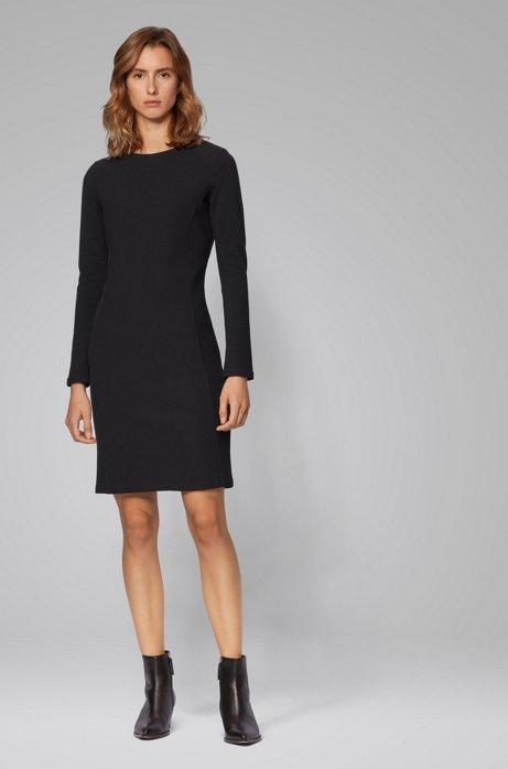 Figuuraccentuerende jurk met lange mouwen van een katoenmix, Zwart