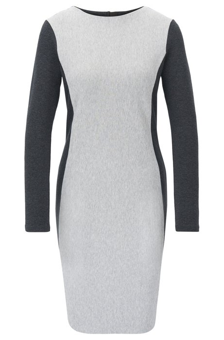 Long-sleeved bodycon dress in a cotton blend, Grey