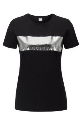 T-Shirt aus Baumwolle mit Folienprint in 3D-Optik, Schwarz