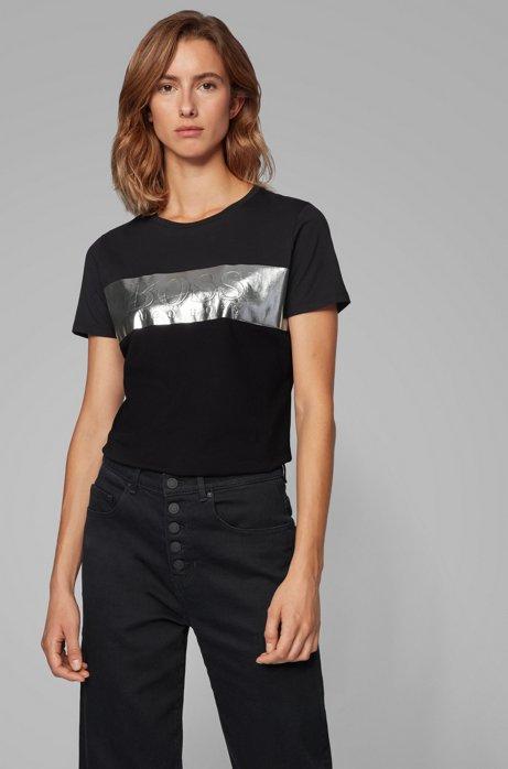 Regular-fit T-shirt with 3D foil-print logo, Black