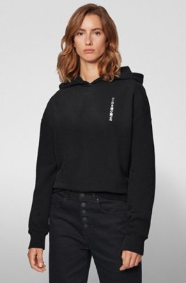 Hooded terry sweatshirt with linear logos and colour-block inserts, Black