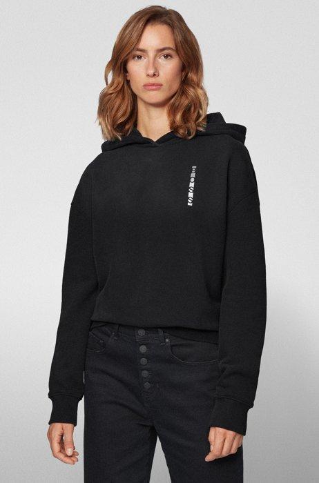 Sweater van badstof met capuchon, lineaire logo's en inzetstukken in blokkleuren, Zwart