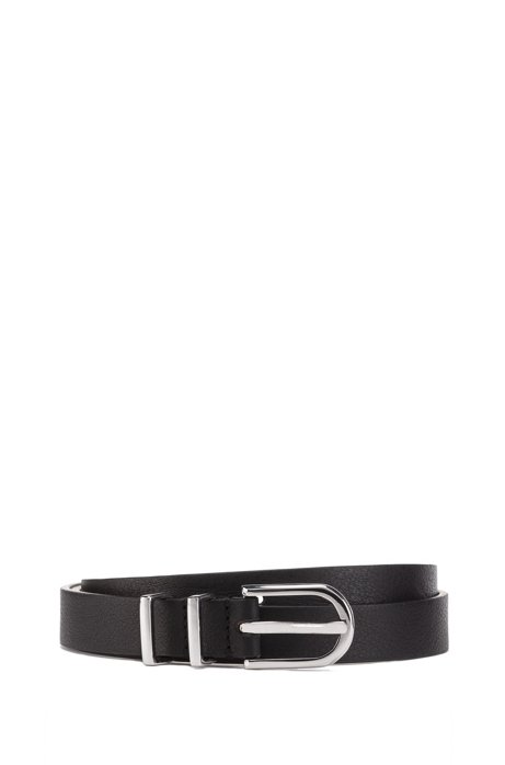 Italian-made belt in nappa leather with double-keeper loop, Black