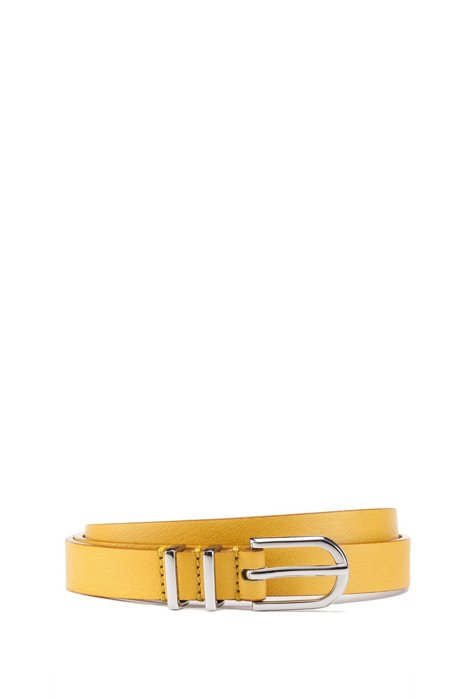 Italian-made belt in nappa leather with double-keeper loop, Yellow
