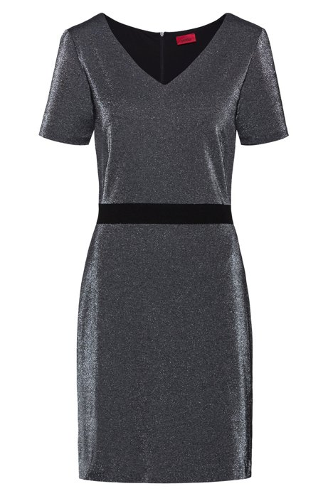 V-neck dress in sparkly jersey with in-seam zip, Dark Grey