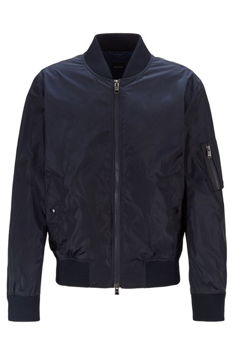 Bomber jacket in water-repellent fabric with sleeve pocket, Dark Blue