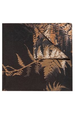 Palm-leaf print pocket square in silk twill , Patterned
