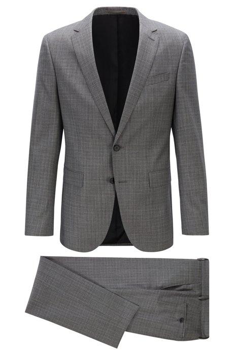 Slim-fit suit in patterned virgin-wool serge, Open Grey