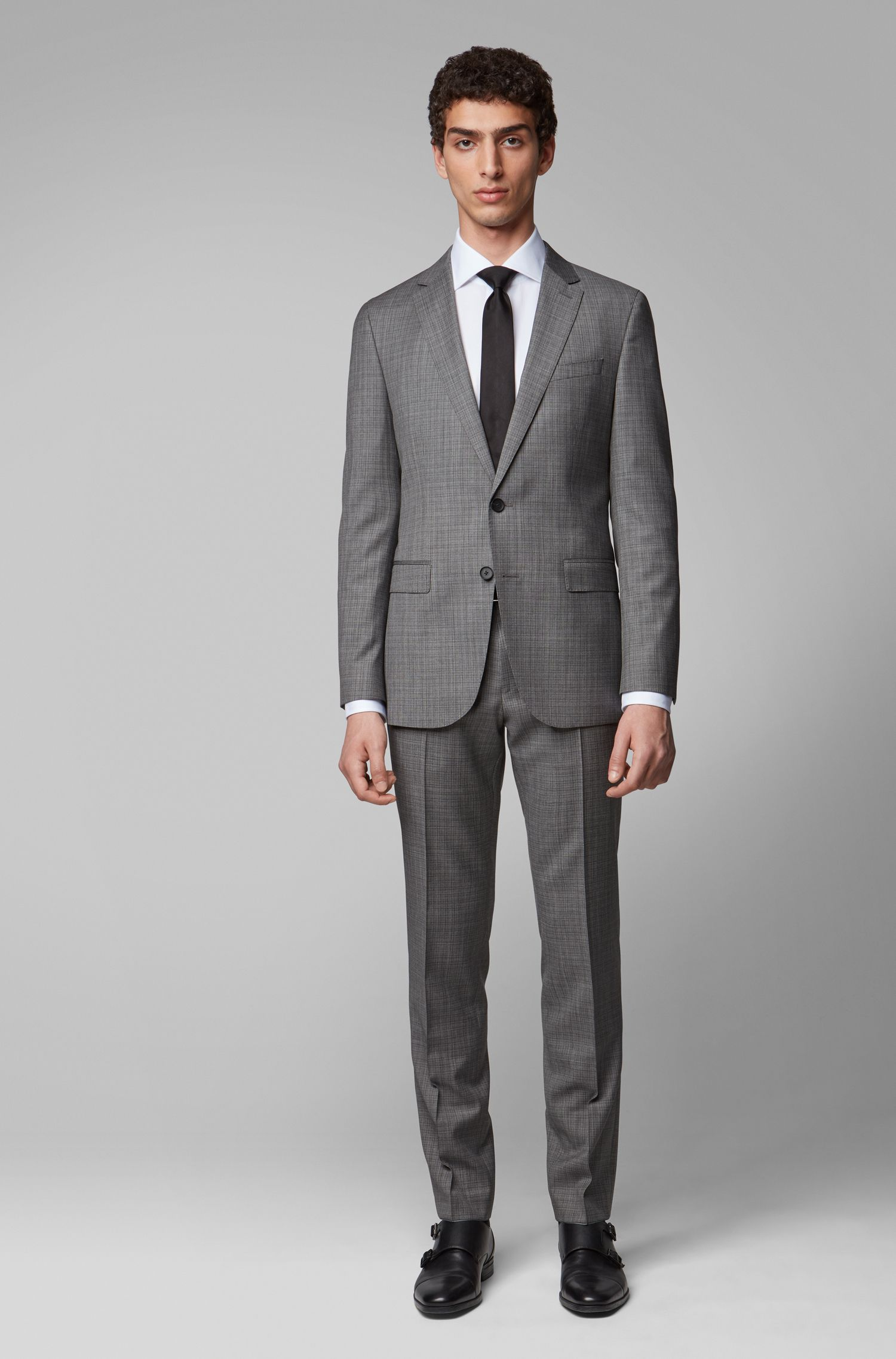 Slim-Fit Anzug aus gemustertem Schurwoll-Serge, Hellgrau