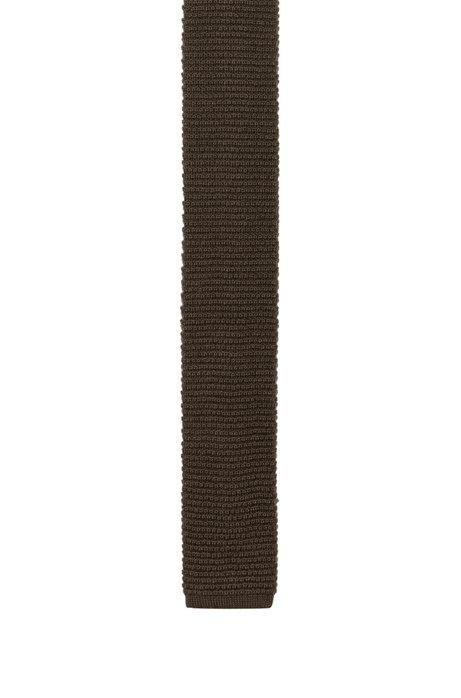 Gerade geschnittene Strickkrawatte aus Material-Mix mit Wolle, Dunkelgrün