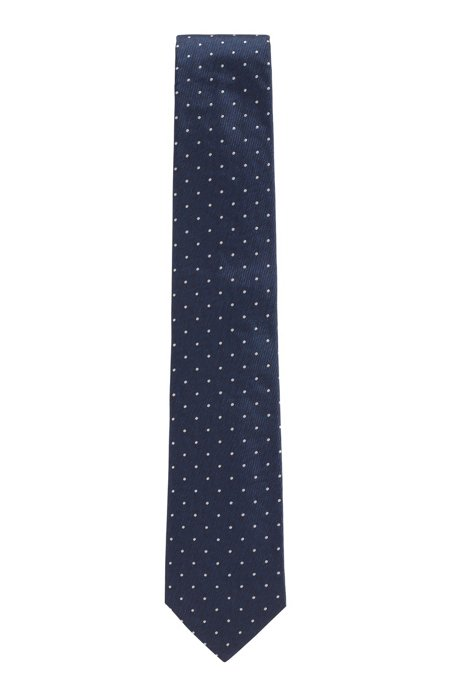 Italian-made tie in dotted silk jacquard, Dark Blue