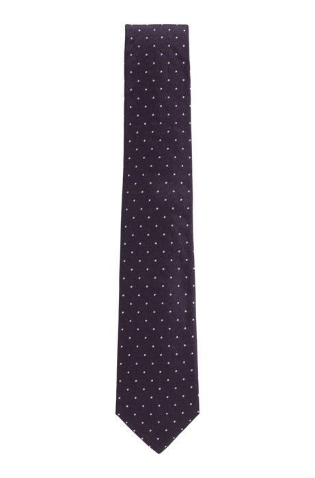 Italian-made tie in dotted silk jacquard, Dark Purple