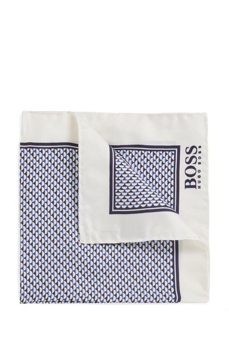 Silk pocket square with micro motif, White
