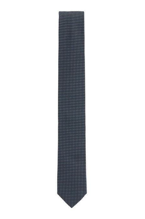 In Italië vervaardigde stropdas van zijde met dessin in jacquard, Donkerblauw