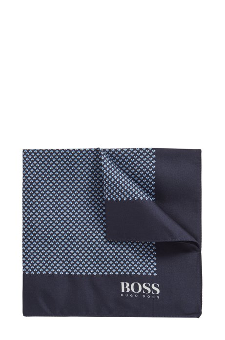 Italian-made pocket square in printed silk, Dark Blue