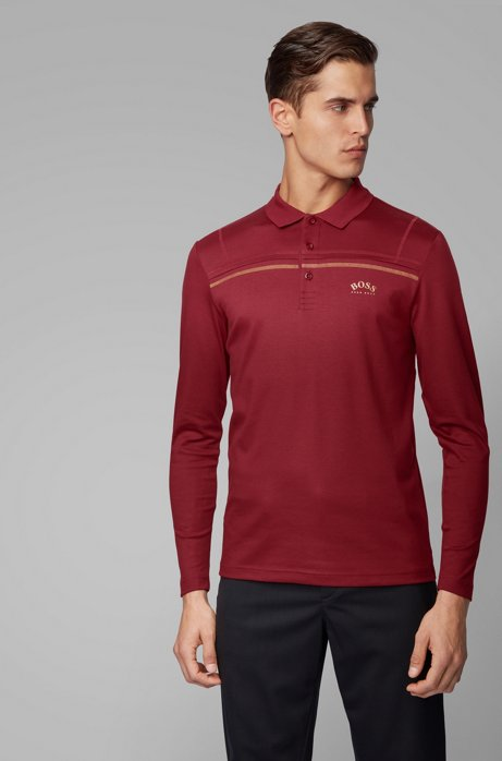 Long-sleeved slim-fit polo shirt in interlock cotton, Red
