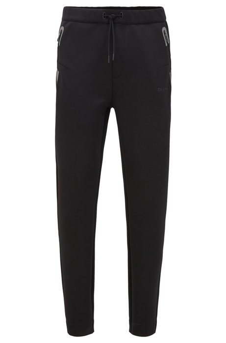 Regular-fit jogging trousers with drawstring waist, Black