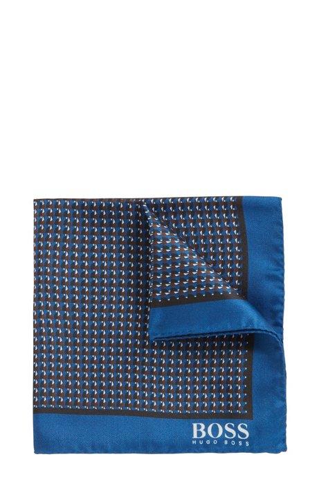 Pochet van zijde met geometrische print en rolzoom, Donkerblauw