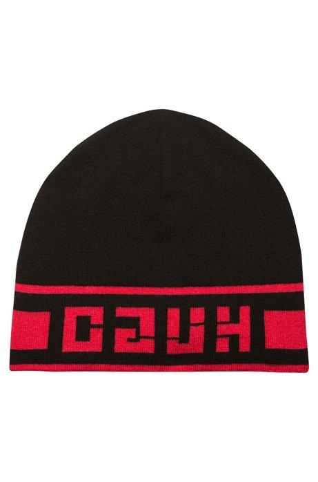 Mütze aus gestricktem Jacquard mit spiegelverkehrtem Logo, Schwarz