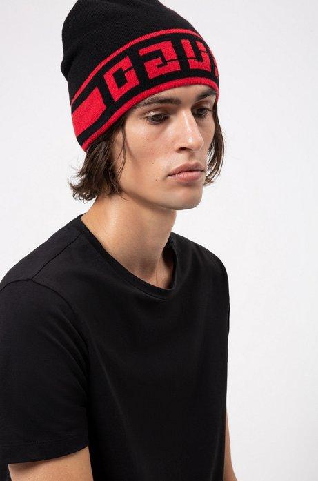 Reverse-logo beanie hat in a jacquard knit, Black