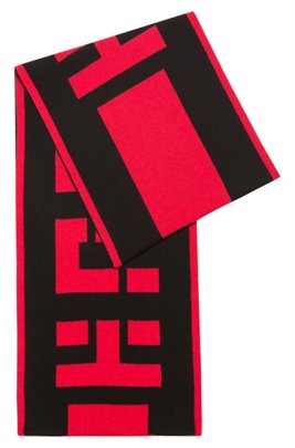 Reverse-logo scarf in a wool blend with cashmere, Patterned