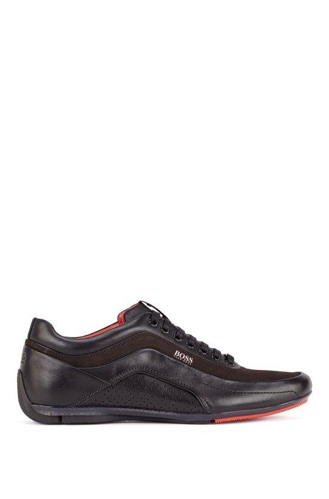 Sneakers low-top in pelle e pelle scamosciata, Nero